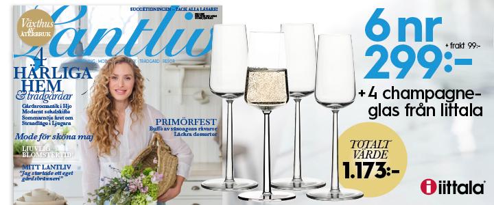 Lantliv + 4 champagneglas från Iittala tidningspremie